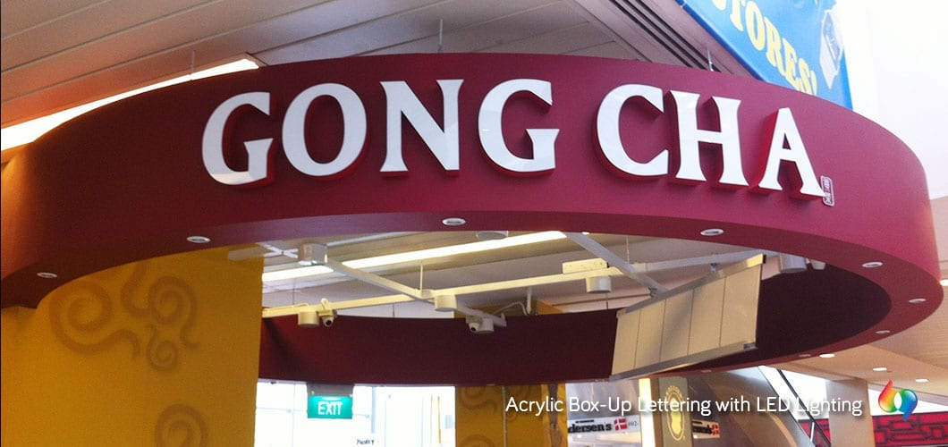 Gong cha acrylic box up lettering